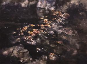 55,3cm x 74cm Black Water -Floating Dead Leaf- 2018